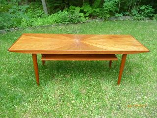 Scandinavian Mid Century Modern Teak Coffee Table With Starburst Inlay photo