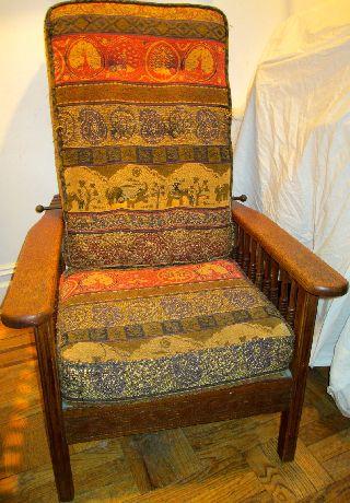 Estate Sale Quartersawn Oak Mission Arts & Crafts Morris Chair Ca.  1910 - 20 photo