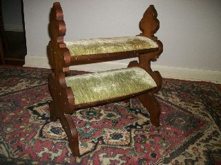 Victorian Walnut Bed Steps Foot Stool photo