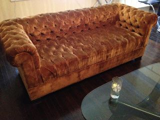 Velvet Art Deco Chesterfield Couch Sofa Nyc Button Tufted Vintage Antique photo