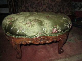 Victorian Footstool Covered With Sage Green Silk With 8 Buttons photo
