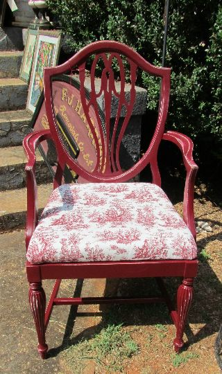 Antique Shield Back Arm Chair - Toile Seat - Red photo