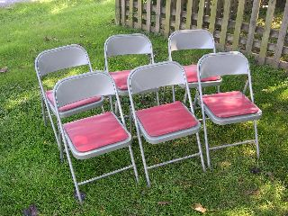 6 Vintage Childs Krueger Metal Folding Chairs Made In Green Bay,  Wisconsin photo