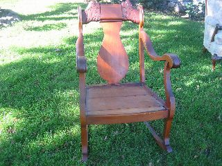 Antique 1930 ' S Oak Carved Lions Rocking Chair photo