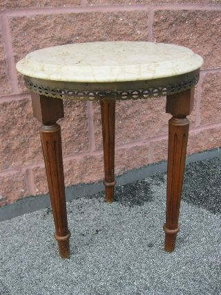 Vintage Mahogany Marble Top Table Stand Plant Stand Victorian photo
