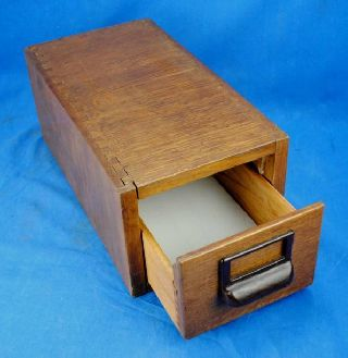 Old Vtg Globe Wernicke Wooden Wood Oak Library Index File Card Catalog Cabinet photo
