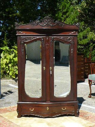 Antique Victorian Renaissance 19c Mahogany Birdseye Maple Int.  Armoire Wardrobe photo
