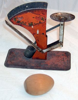 6x6.  5x3 Inch 1920s Extremely Distressed Tin Egg Scale,  2.  5x1.  5inch Wood Fake Egg photo
