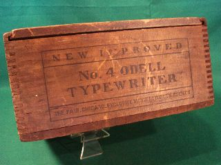 Antique Vintage Odell No 4 Typewriter Wood Wooden Box New Improved Chicago Neat photo