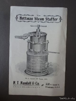 Antique Hottman Steam Power Sausage Stuffer Catalog Brochure Meat Packing C.  1895 photo