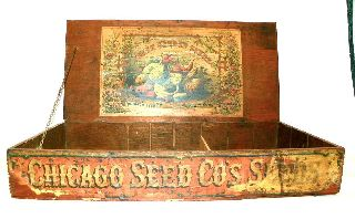 Antique Country Store Counter Display Wood Adv Seed Box Chicago Seed Co Estate photo