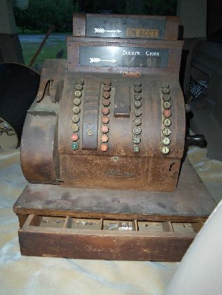 Gorgeous Antique National Mahogany Cash Register 842 Estate Item photo