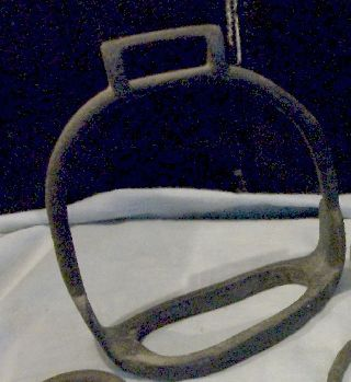 @ 1 Antique Primitive Cast Iron Western Style Brass Stirrup. photo