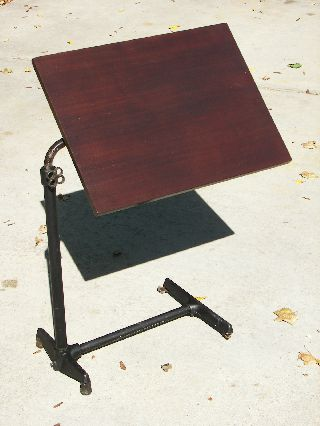 Vintage Industrial Serving Tray Table Stand Steampunk Cast Iron Base Adjustable photo