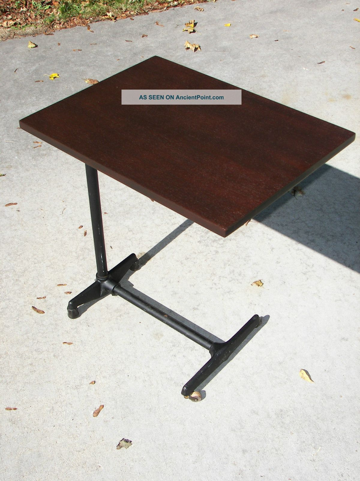 Vintage Industrial Serving Tray Table Stand Steampunk Cast Iron Base  Adjustable