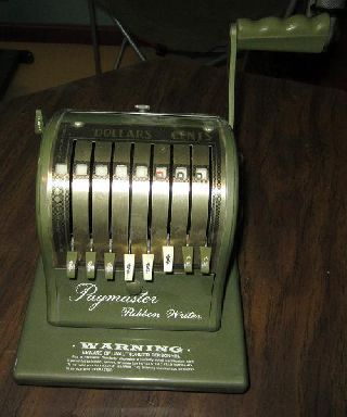 Paymaster Series 8000 Ribbon Writer Olive,  With Key,  Works Well photo