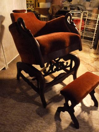 Dated 1860 Antique Mechanical G.  W.  Archer Hand - Crank Barber Chair & Foot Stool photo