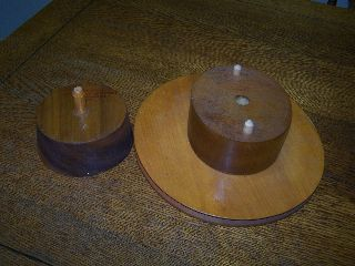 Vintage Louie Miller School Of Millinery Woman Hat Mold Form Spinner Wood Block photo