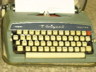 Vtg Brother Trutab Wizard Typewriter Light Blue With Carry Case & Docs photo