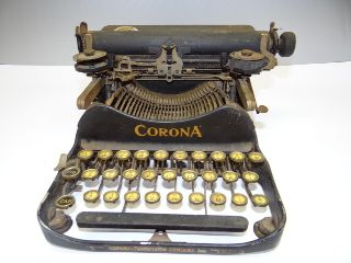 Antique Metal Black Portable Corona 3 Writing Typing Typewriter Parts Repair Nr photo