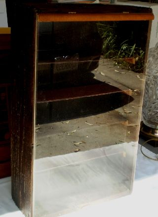 Vintage Wood Case Miniature And Smalls Display Case Hinged Top photo