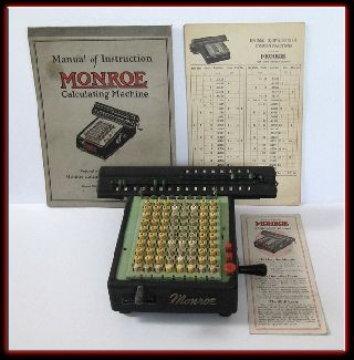 Vintage 20 ' S Monroe Executive Calculating Machine Calculator W/ Manuals - photo