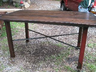 Industrial Machine Age Reclaimed Pub Dinning Table Black Walnut Urban Loft photo