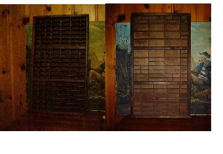 2 Amazing Print Type Trays 1 Marked Thompson Furniture Cabinet Co & 1 No Mark photo
