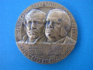Orig 1936 Whitall Tatum Company Centennial Medallion - Extremely Detailed Raised photo
