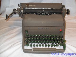 Rare Early Vintage Antique 1954 Royal Hh Model Professional Green Typewriter photo