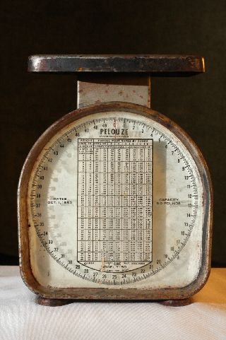 Vintage Rusty Metal Pelouze Model Y - 50 Postal Scale 1953 Parcel Post Rates Works photo