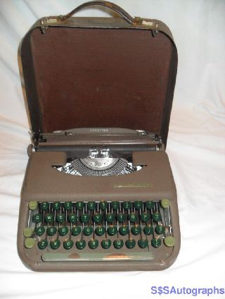 Rare Green 1949 Vintage Antique Smith Corona Skyriter Portable Typewriter & Case photo