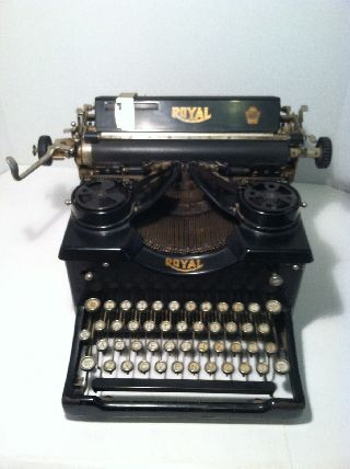 Antique Royal Model Sx Typewriter With Beveled Glass Sides photo