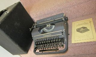 Antq Gray Underwood Universal Portable Typewriter Art Deco Modern + Case/papers photo
