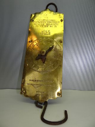 Antique Iron Brass Face Chatillons New York Spring Balance Hanging Milk Scale Nr photo