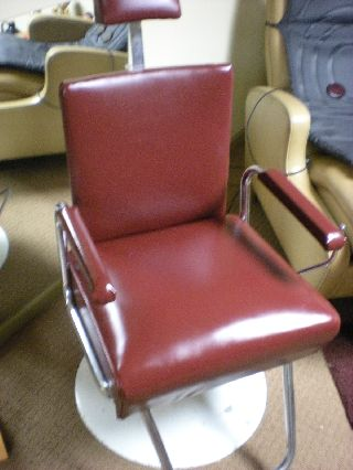 Vintage Antique Red Barber Chair Manf By Koken St Louis Rare Retro photo