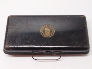 Antique Hillsborough County Savings Bank Manchester New Hampshire Metal Cash Box photo