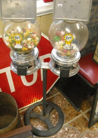 Ford Bubble Gum Vending Machine Dual Sided Vintage W/ Metal Stand Two Glass Bowl photo