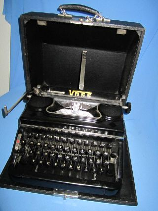 Art Deco German Black Bakelite Typewriter By Voss Wuppertal With Case Good Works photo