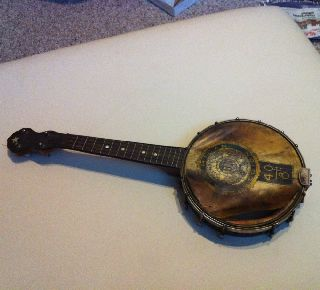 Antique Banjo Open Back 4 String - Unsigned - Seems Military photo