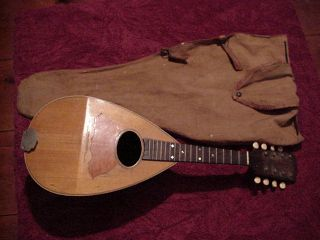 Early Bay State Bowl Back Mandolin 1890s W/ Canvas Cloth Case Beautifully Made photo