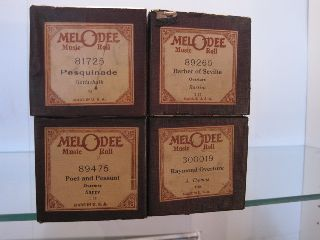 Antique Player Piano Music Rolls - - Lot 0f 4 photo