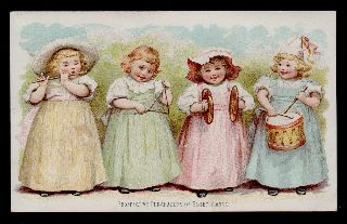 Charming~1890 ' S Maud Humphrey Illus~girls W/musical Instruments~estey Pianos photo