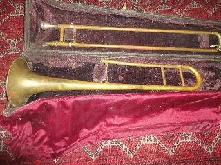 Rare Antique Special F.  E.  Olds & Sons Brass Slide Trombone W/case Serial 129653 photo