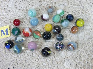 Old Vtg Marbles 24 Akro Agate Marble King Vitro Wv Colorful Toy Marble Lot ~m~♦~ photo
