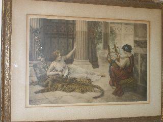 Antique Signed Framed Print By Sydney Muschamp 1912 - photo