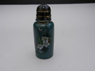 Victorian Antique Shaker Handpainted Florals 2 Part Lid Ceramic Dusty Teal 4 1/4 photo