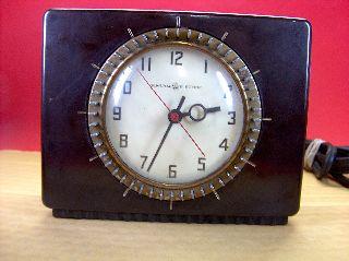 Old Vtg 1940 ' S Ge Telechron Art Deco Electric Clock / Timer Bakelite Case Works photo