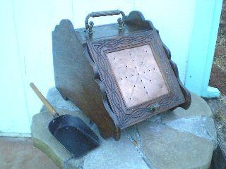 Antique Oak Coal Scuttle Box & Scoop (perry & Son Co. ) Wood / Coal Box photo