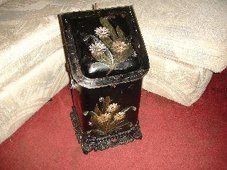 Antique Victorian Tin&iron Coal Hod Scuttle W/ Insert photo